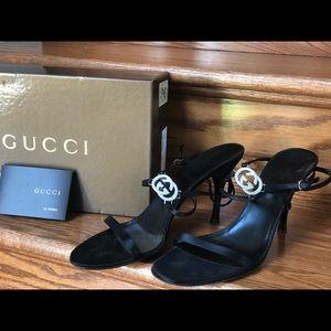 Gucci Heels size 10.5. Black silk straps.